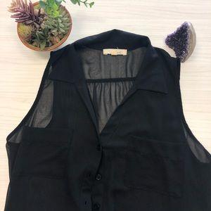 LUSH sheer spread collar sleeveless blouse L